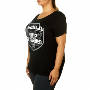"""The Shield """"Justice Has Returned"""" Women's Curvy T-Shirt"""