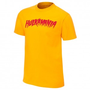 "Hulk Hogan ""Hulkamania"" Yellow Youth Authentic T-Shirt"