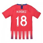 Atlético de Madrid Home Cup Stadium Shirt 2018-19 - Kids with N. Pérez 18 printing