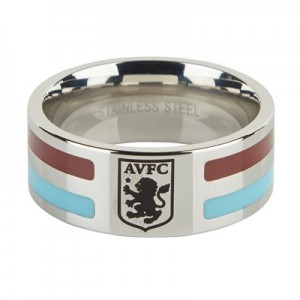 Aston Villa Colour Stripe Crest Ring - Stainless Steel