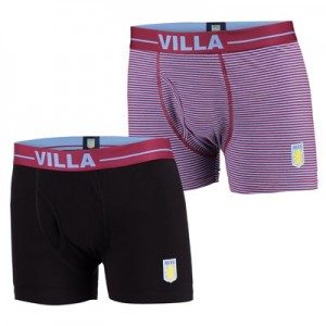 Aston Villa 2PK Boxer Shorts - Black/Claret - Mens