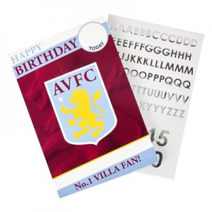 Aston Villa Personalised Name & Age Sticker Card