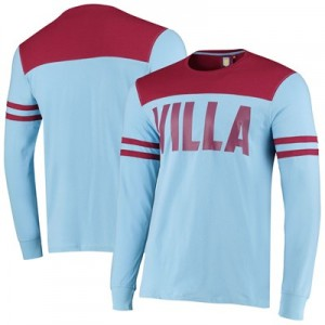 Aston Villa Cut & Sew Long Sleeve T Shirt - Sky - Mens