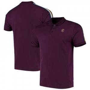 Aston Villa Iconic Short Sleeve Rib Panel Polo - Claret - Mens