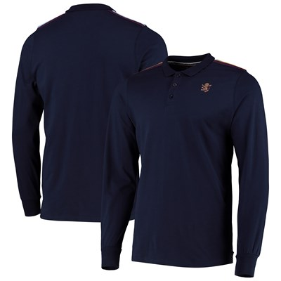 Aston Villa Iconic Long Sleeve Rib Panel Polo - Navy - Mens