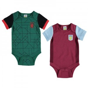 Aston Villa Kit 2 Pk Bodysuits - Claret/Green - Baby