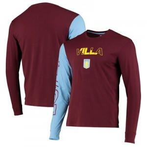 Aston Villa Contrast Long Sleeve T Shirt - Claret - Mens