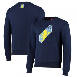 Aston Villa Split Graphic Crew Neck Sweat - Navy - Mens
