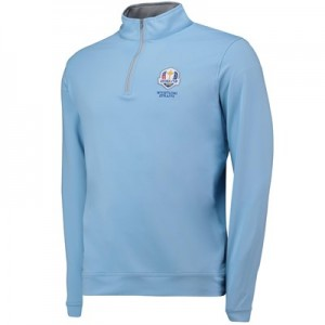 The 2020 Ryder Cup Peter Millar Perth Stretch Loop Terry Quarter-Zip - Cottage Blue
