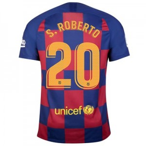 Barcelona Home Vapor Match Shirt 2019-20 with S.Roberto 20 printing