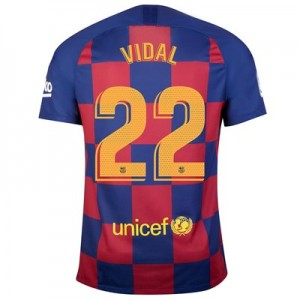 Barcelona Home Vapor Match Shirt 2019-20 with Vidal 22 printing
