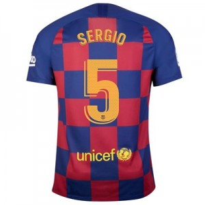 Barcelona Home Stadium Shirt 2019-20 with Sergio 5 printing