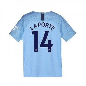 Manchester City Home Stadium Shirt 2018-19 - Kids with Laporte 14 printing