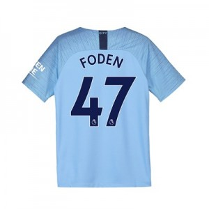 Manchester City Home Stadium Shirt 2018-19 - Kids with Foden 47 printing