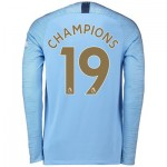 Manchester City Home Stadium Shirt 2018-19 - Long Sleeve with Champions 19 printing
