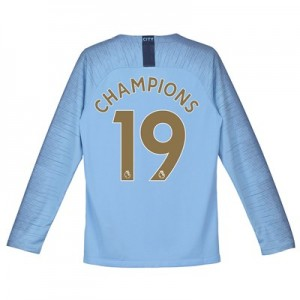 Manchester City Home Stadium Shirt 2018-19 - Long Sleeve - Kids with Champions 19 printing