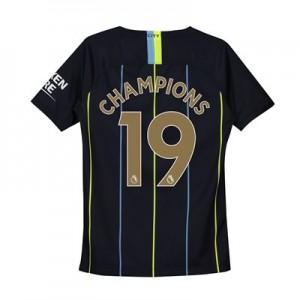 Manchester City Away Stadium Shirt 2018-19 - Kids with Champions 19 printing