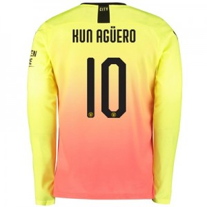 Manchester City Cup Third Shirt 2019-20 - Long Sleeve with Kun Agüero  10 printing
