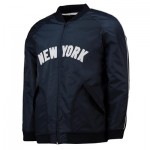 New York Yankees Satin Varsity Jacket - Navy - Mens