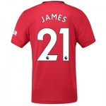 Manchester United Home Authentic Shirt 2019 - 20 with James 21 printing