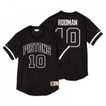 Detroit Pistons Dennis Rodman Black & White Mesh Name & Number Crew - Mens