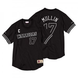 Golden State Warriors Chris Mullin Black & White Mesh Name & Number Crew - Mens