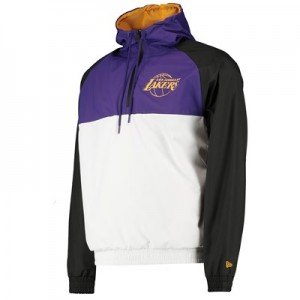 Los Angeles Lakers New Era Hooded 1/4 Zip Hooded Windbreaker - Mens