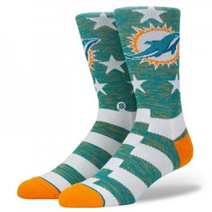 Miami Dolphins Stance Banner Sock - Mens