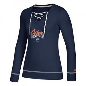 Edmonton Oilers adidas Skate Lace Top - Womens