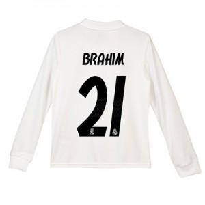 Real Madrid Home Shirt 2018-19 - Long Sleeve - Kids with Brahim 21 printing