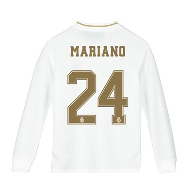 Real Madrid Home Shirt 2019-20 - Long Sleeve - Kids with Mariano 24 printing