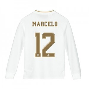 Real Madrid Home Shirt 2019-20 - Long Sleeve - Kids with Marcelo 12 printing