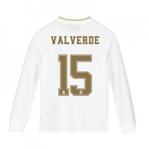 Real Madrid Home Shirt 2019-20 - Long Sleeve - Kids with Valverde 15 printing