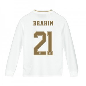 Real Madrid Home Shirt 2019-20 - Long Sleeve - Kids with Brahim 21 printing