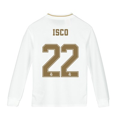 Real Madrid Home Shirt 2019-20 - Long Sleeve - Kids with Isco 22 printing