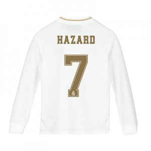 Real Madrid Home Shirt 2019-20 - Long Sleeve - Kids with Hazard 7 printing