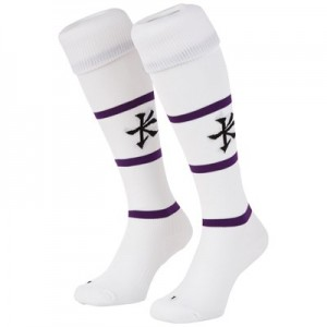 Leicester Tigers Alternate Replica Sock 2018/19 - White/Purple - Junior