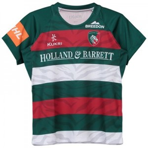Leicester Tigers Home Replica Jersey 2018/19 - Green/Red/White - Junior